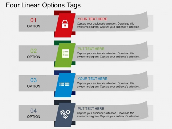 Four Linear Options Tags Powerpoint Template