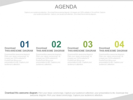 Four Linear Steps For Business Agenda Powerpoint Slides