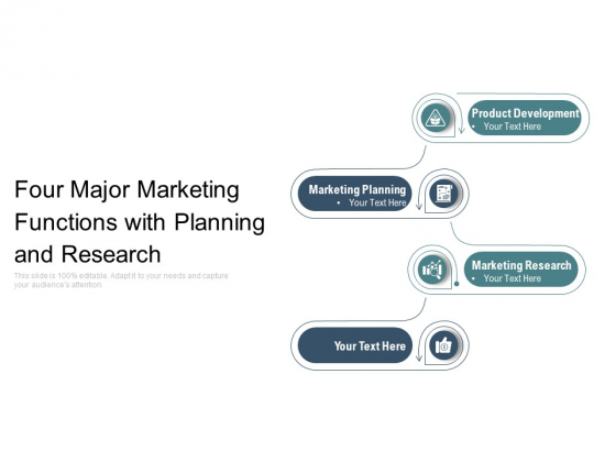 Four Major Marketing Functions With Planning And Research Ppt PowerPoint Presentation Professional Graphics Example PDF