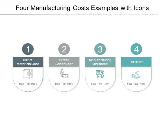 Four Manufacturing Costs Examples With Icons Ppt PowerPoint Presentation Slides Influencers PDF
