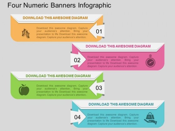 Four Numeric Banners Infographic PowerPoint Template
