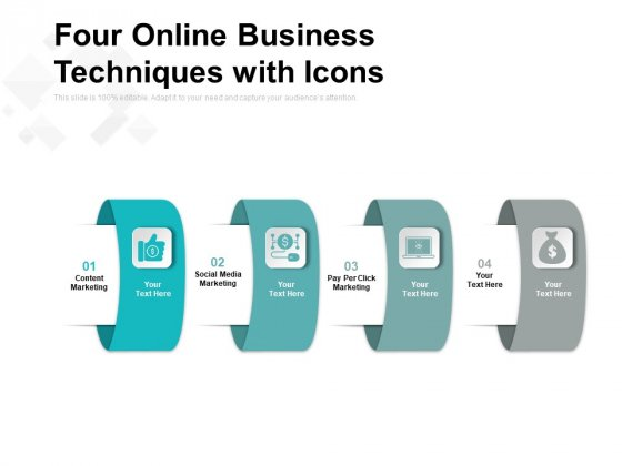 Four Online Business Techniques With Icons Ppt PowerPoint Presentation Summary Slides PDF