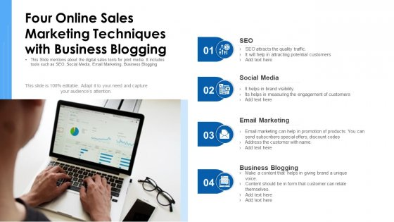 Four Online Sales Marketing Techniques With Business Blogging Ppt Infographic Template Slideshow PDF