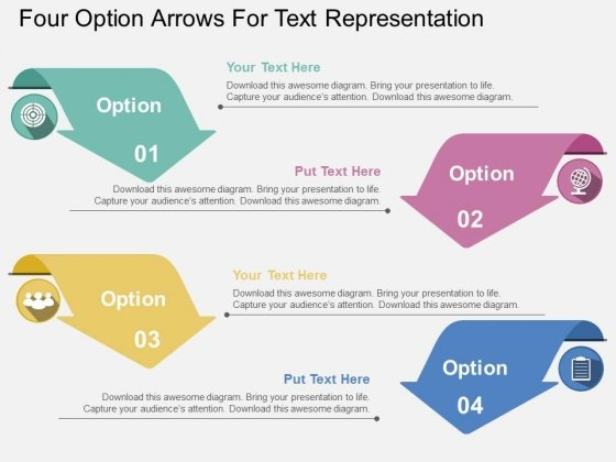 Four Option Arrows For Text Representation Powerpoint Templates