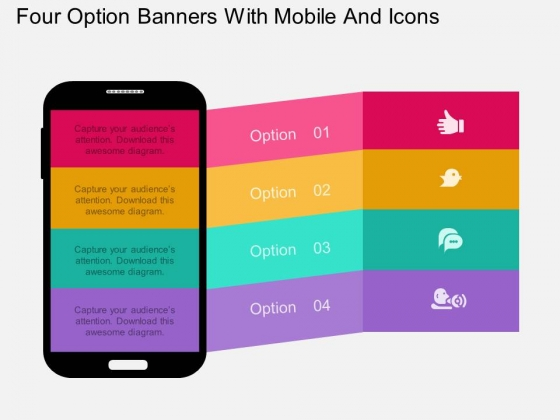Four Option Banners With Mobile And Icons Powerpoint Template