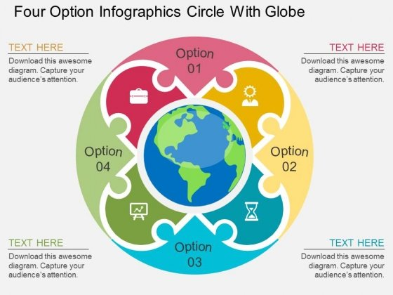 Four Option Infographics Circle With Globe Powerpoint Template