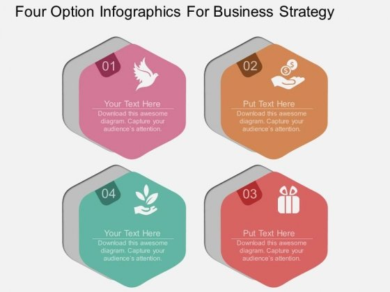 Four Option Infographics For Business Strategy Powerpoint Template