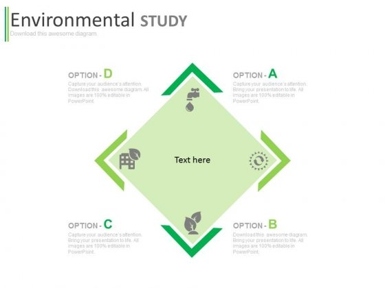 Four Options Chart For Environmental Study Powerpoint Template