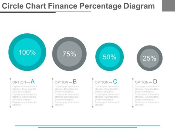 Four Options Circle Chart With Percentage Powerpoint Slides