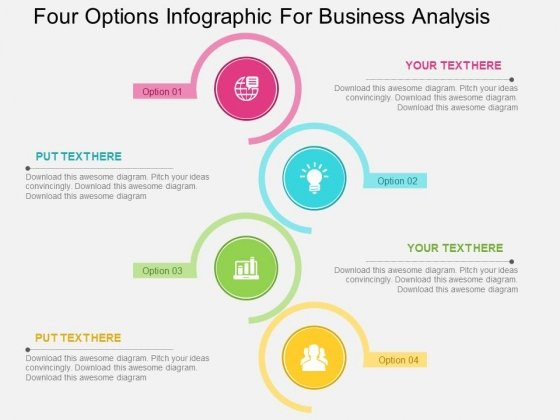 Four Options Infographic For Business Analysis Powerpoint Templates