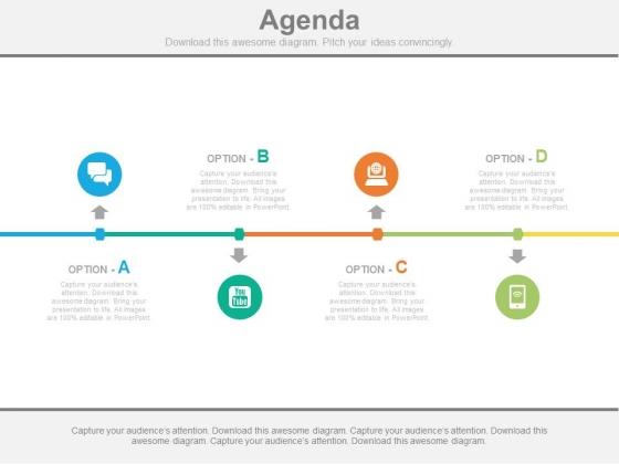 Four Options Linear Business Agenda Diagram Powerpoint Slides