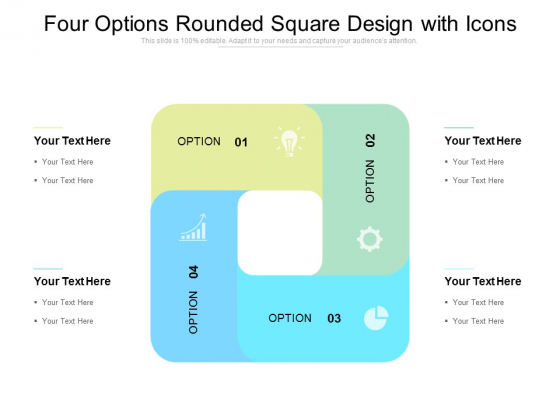 Four Options Rounded Square Design With Icons Ppt PowerPoint Presentation Infographics Elements