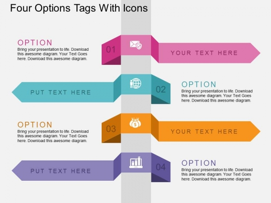 Four Options Tags With Icons Powerpoint Template