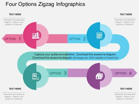 Four Options Zigzag Infographics Powerpoint Template
