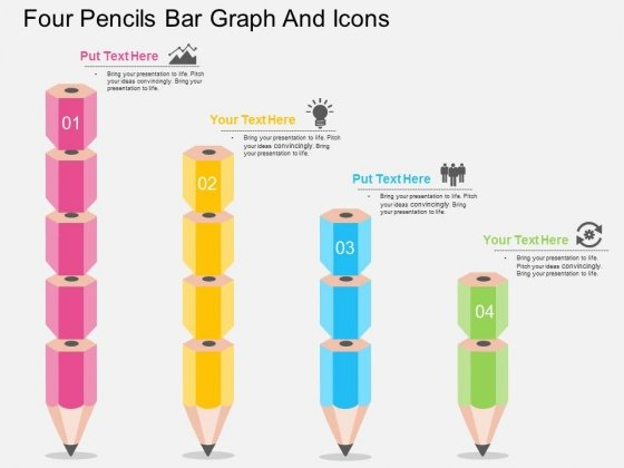 Four Pencils Bar Graph And Icons Powerpoint Template