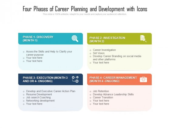 Four Phases Of Career Planning And Development With Icons Ppt PowerPoint Presentation Gallery Layout PDF