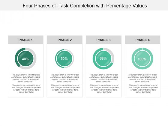 Four Phases Of Task Completion With Percentage Values Ppt PowerPoint Presentation Outline Clipart Images