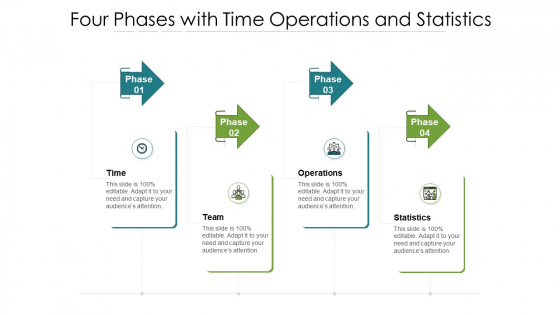 Four Phases With Time Operations And Statistics Ppt PowerPoint Presentation File Slideshow PDF