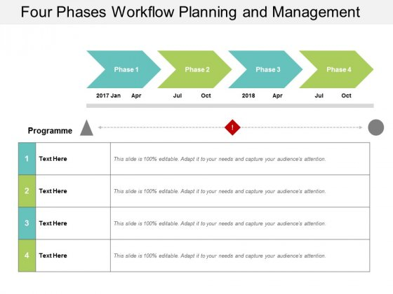 Four Phases Workflow Planning And Management Ppt Powerpoint Presentation Portfolio Designs Download