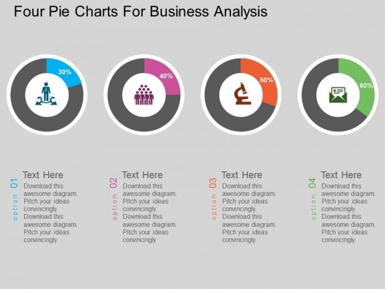 Four Pie Charts For Business Analysis Powerpoint Template