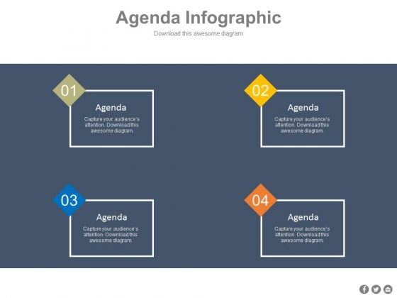Four Points Agenda Diagram For Business Powerpoint Slides