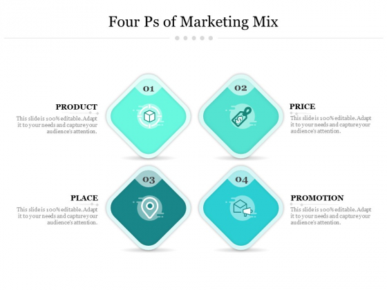 Four Ps Of Marketing Mix Ppt PowerPoint Presentation Pictures Clipart