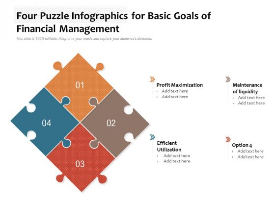 Four Puzzle Infographics For Basic Goals Of Financial Management Ppt PowerPoint Presentation Layouts Backgrounds PDF