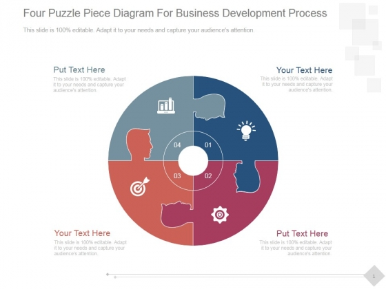 Four Puzzle Piece Diagram For Business Development Process Ppt PowerPoint Presentation Images