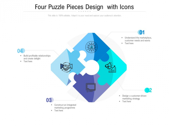 Four Puzzle Pieces Design With Icons Ppt PowerPoint Presentation Model Ideas PDF