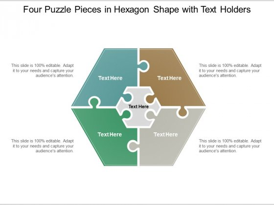 Four Puzzle Pieces In Hexagon Shape With Text Holders Ppt Powerpoint Presentation Professional Visual Aids