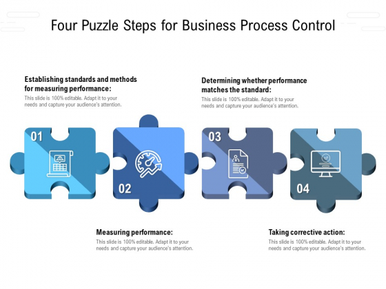 Four Puzzle Steps For Business Process Control Ppt File Pictures PDF