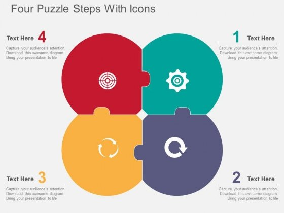 Four Puzzle Steps With Icons Powerpoint Templates