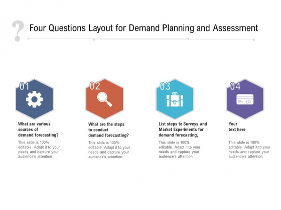 Four Questions Layout For Demand Planning And Assessment Ppt PowerPoint Presentation File Visuals PDF