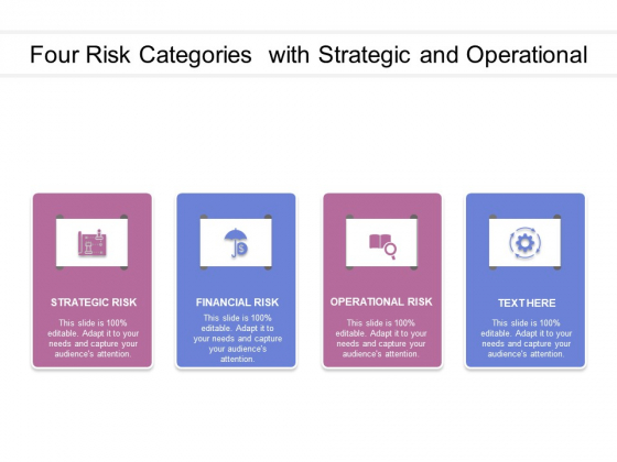Four Risk Categories With Strategic And Operational Ppt PowerPoint Presentation Inspiration Design Ideas PDF