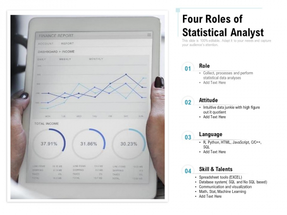 Four Roles Of Statistical Analyst Ppt PowerPoint Presentation Gallery Slides PDF