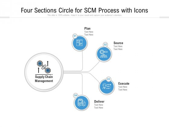 Four Sections Circle For SCM Process With Icons Ppt PowerPoint Presentation File Slide PDF
