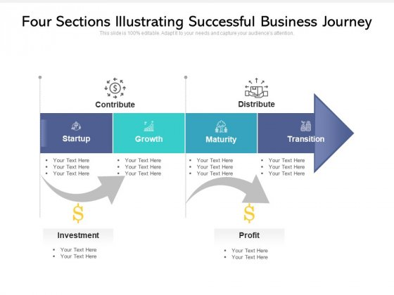 Four Sections Illustrating Successful Business Journey Ppt PowerPoint Presentation Gallery Styles PDF