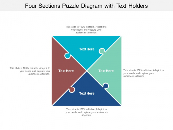 four sections puzzle diagram with text holders ppt powerpoint presentation pictures portfolio