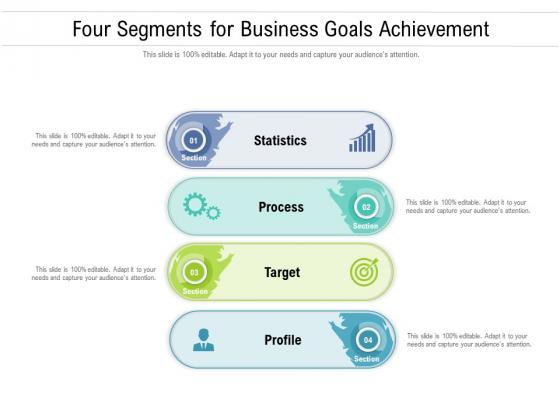 Four Segments For Business Goals Achievement Ppt PowerPoint Presentation File Icons PDF