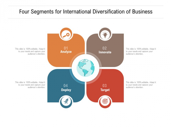 Four Segments For International Diversification Of Business Ppt PowerPoint Presentation Gallery Gridlines PDF