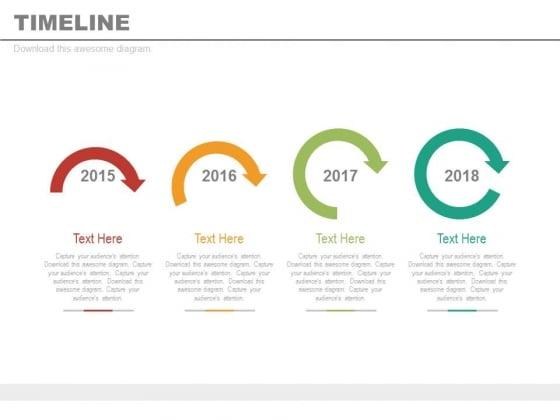Four Sequential Arrows Timeline Diagram Powerpoint Slides