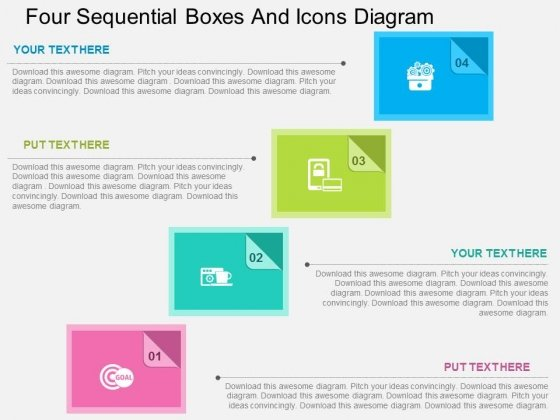 Four Sequential Boxes And Icons Diagram Powerpoint Template