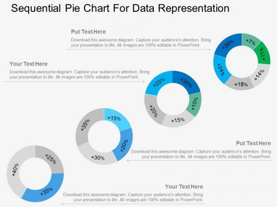 Four Sequential Pie Charts For Data Representation Powerpoint Template