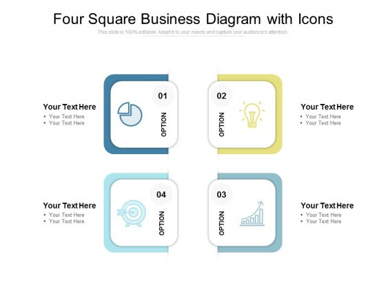 Four Square Business Diagram With Icons Ppt PowerPoint Presentation Layouts Demonstration