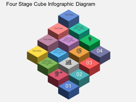 Four Stage Cube Infographic Diagram Powerpoint Templates