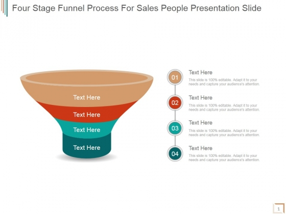 Four Stage Funnel Process For Sales People Ppt PowerPoint Presentation Samples