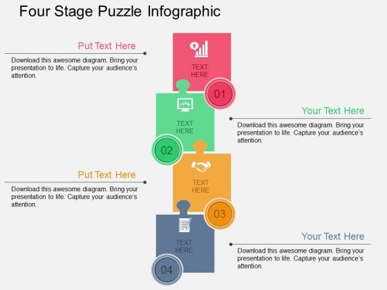 Four Stage Puzzle Infographic Powerpoint Templates