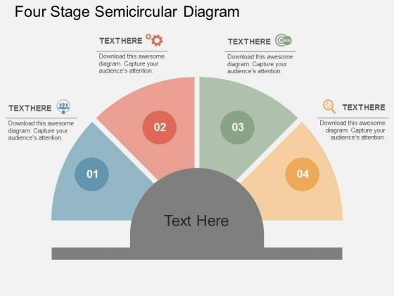 Four Stage Semicircular Diagram Powerpoint Templates