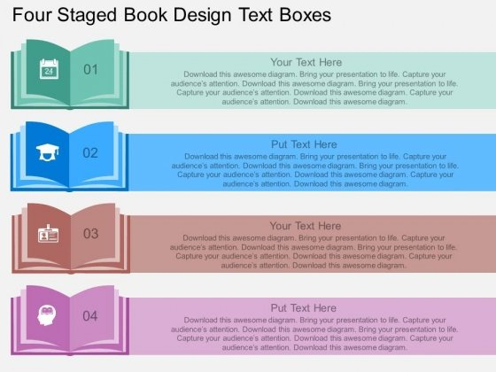 Four Staged Book Design Text Boxes Powerpoint Template