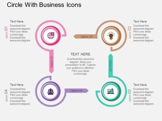 Four Staged Circle With Business Icons Powerpoint Template